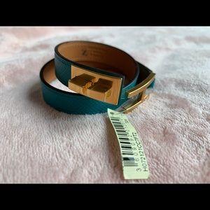 NWT Hèrmes Blue Drag Double Tour Leather Bracelet
